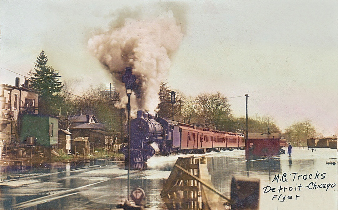 1908 Flooded Mi. Central Tracks in Battle Creek, Michigan