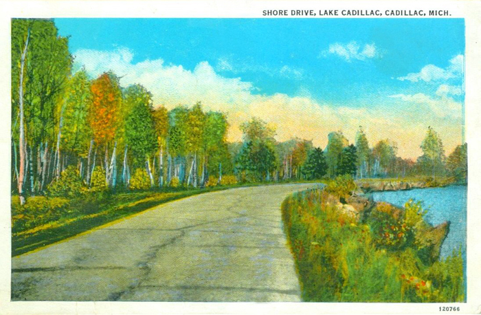 Cadillac, MI The Shore Drive along Lake Cadillac 1933