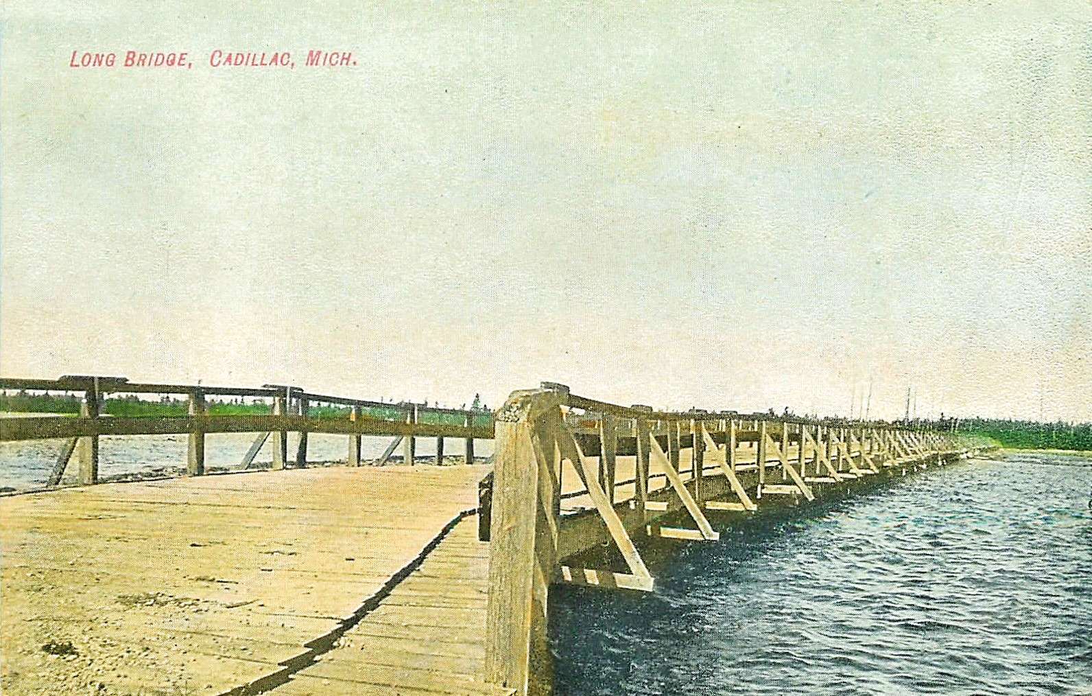 Cadillac Michigan - Long Wooden Plank Bridge West End of Lake Cadillac 1910