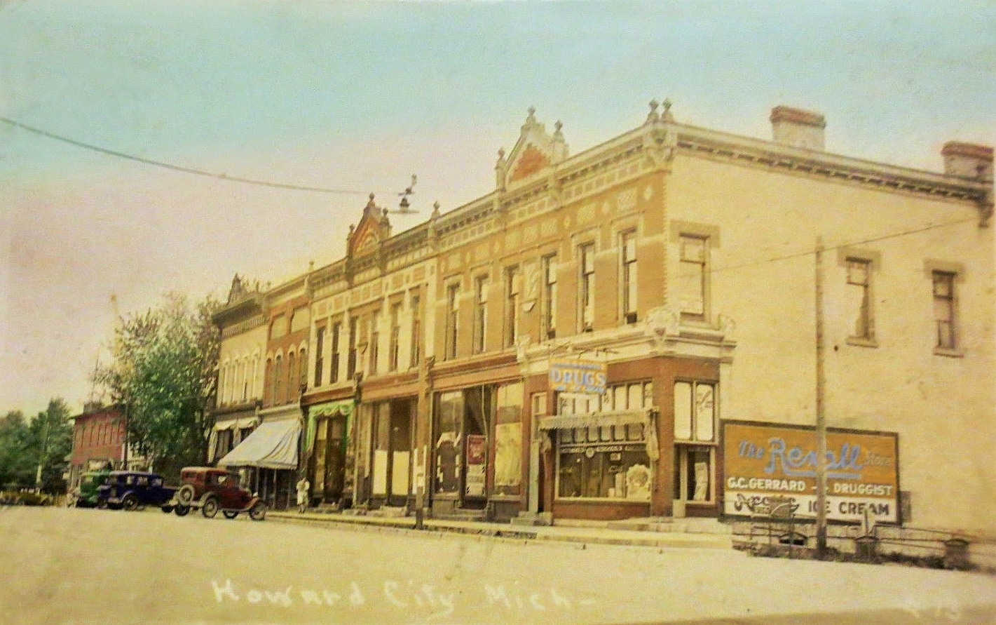 HOWARD CITY MICHIGAN DOWNTOWN MAIN STREET 1930