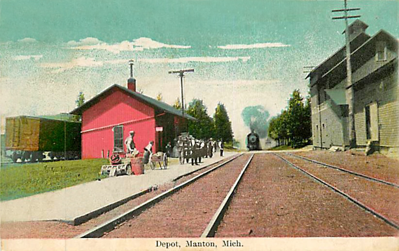 Michigan, Manton, Railroad Depot 1908