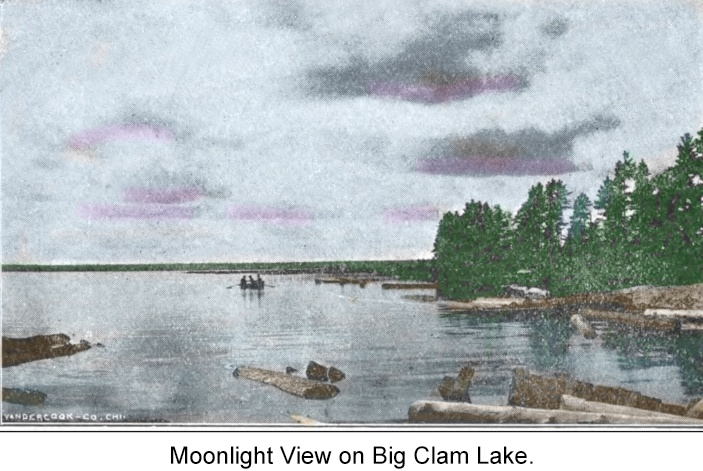 Moonlight View on Big Clam Lake (Cadillac) in 1900