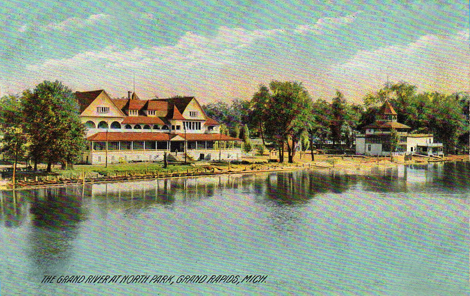 The Grand River at North Park in Comstock Park, Michigan 1909