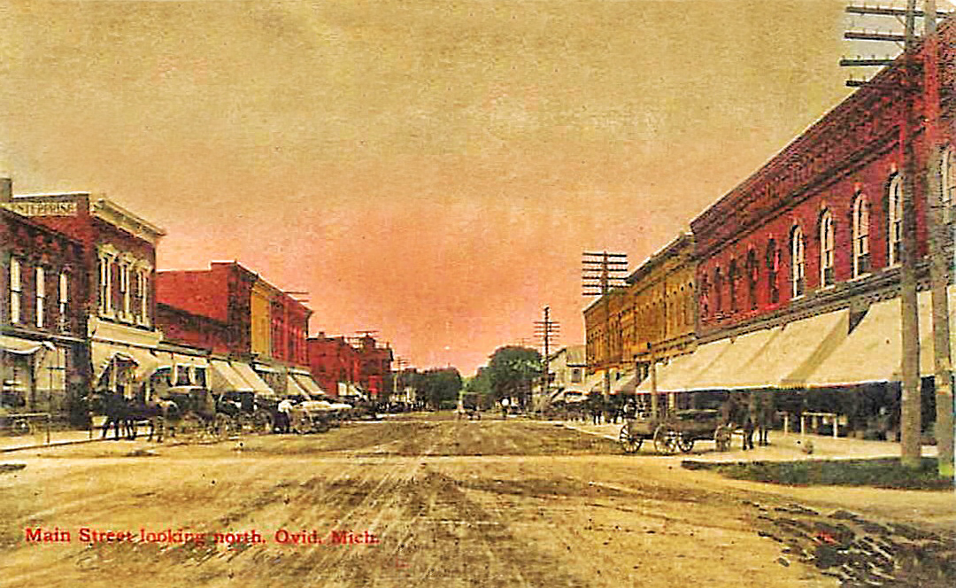 OVID, Michigan MAIN STREET SCENE looking North c1910s