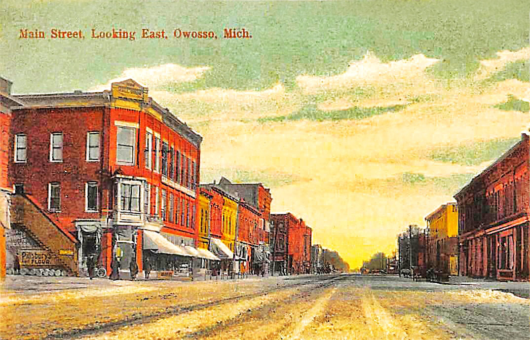 OWOSSO MI Main Street Scene Looking East Michigan 1910s