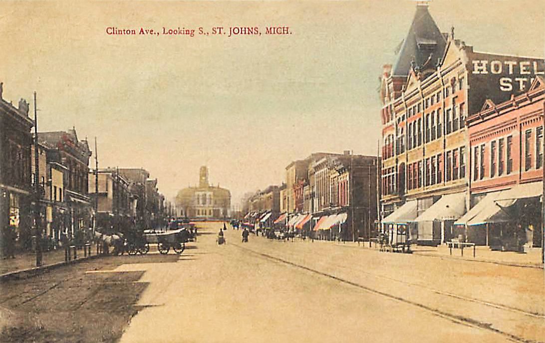 ST. JOHNS, Michigan CLINTON AVENUE 1911