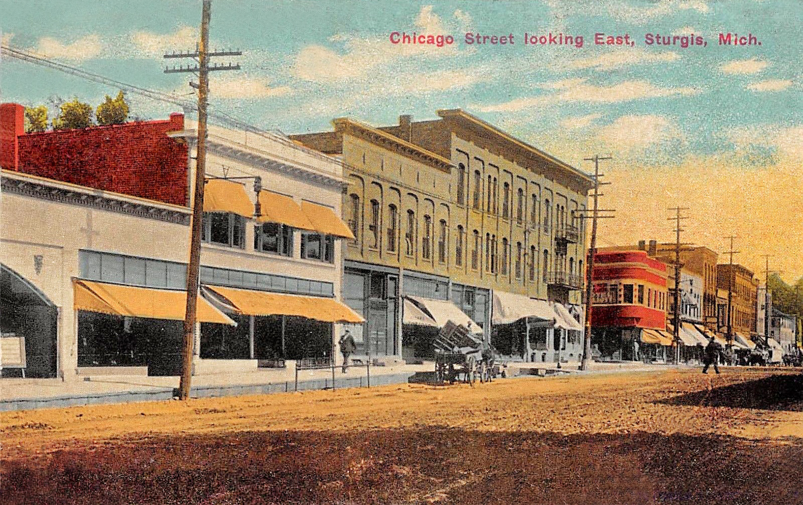 STURGIS MI 1907-13 Street Scene Along Chicago Street Looking East