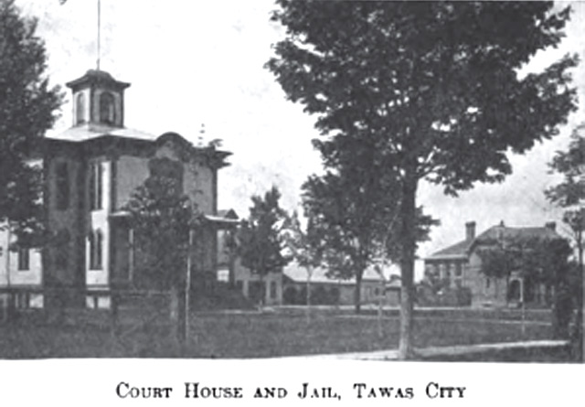 Image of the Courthouse and Jail 1911 in Tawas City Michigan early 1900s