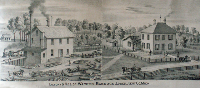Factory and residence of Warren Babcock, Lowell Michigan