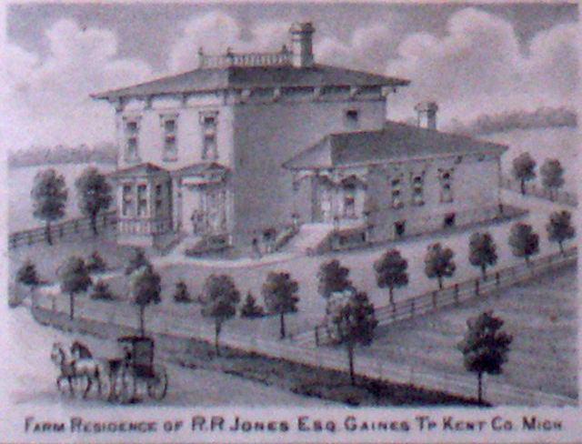 Image of the Farm Residence of R. R. Jones, Gaines Township, Kent County, Michigan