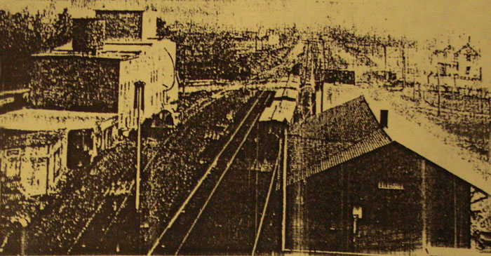 1913 image of the Michigan Central railroad Yards in Caledonia, Kent County, Michigan
