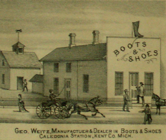 Image of George Weitz's manufacturer and Dealer in Boots and Shoesat Caledonia Station, Caidonia, Kent County, Michigan